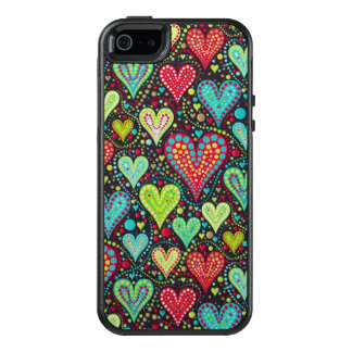 Sweet Colorful Hearts and Dots Design OtterBox iPhone 5/5s/SE Case