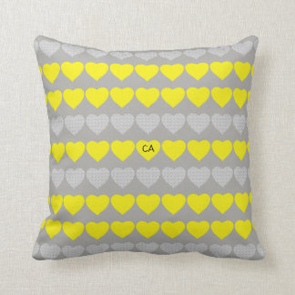 Sweet Colorful Hearts with Initials Throw Pillow
