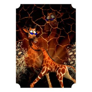 "Sweet, cool giraffe with sunglasses 5"" x 7"" invitation card"