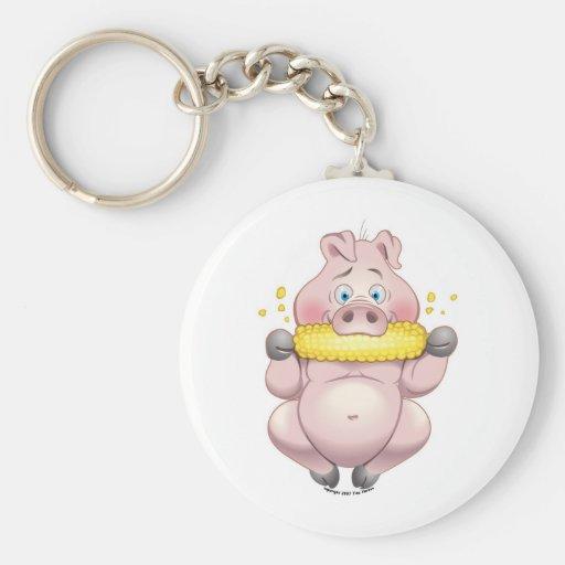 Sweet corn BBQ pink Piggy Key Chains