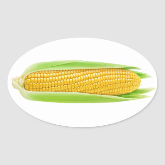 Sweet corn oval sticker