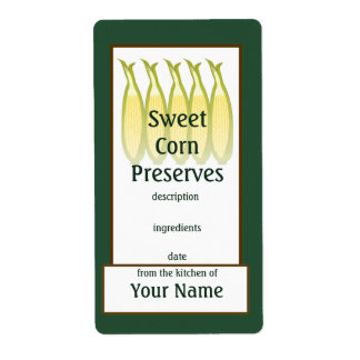 Sweet Corn Preserves Label Shipping Label