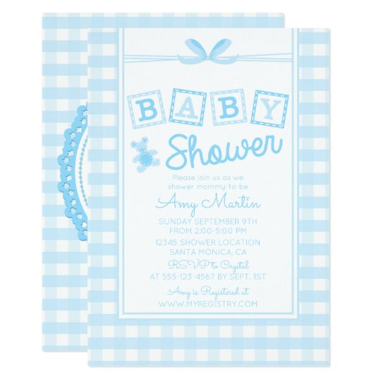 Sweet, Country Blue Baby Shower Invitation