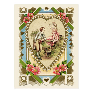 Sweet Couple in Heart Frame Vintage Reproduction Postcard