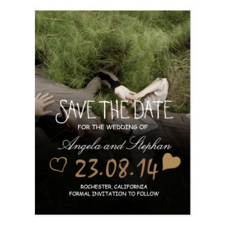 Sweet Couple Laying Grass /Save The Date Postcard