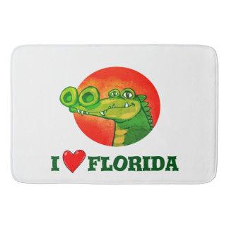 sweet crocodile funny cartoon i love florida bath mat