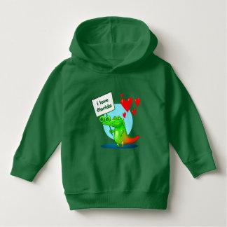 sweet crocodile funny cartoon i love florida hoodie