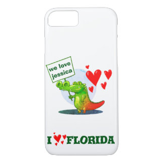 sweet crocodile funny cartoon i love florida iPhone 8/7 case