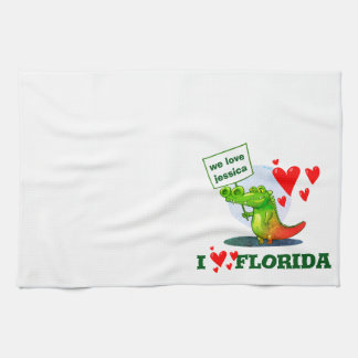 sweet crocodile funny cartoon i love florida kitchen towel