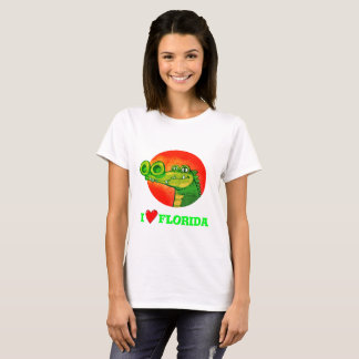 sweet crocodile funny cartoon i love florida T-Shirt