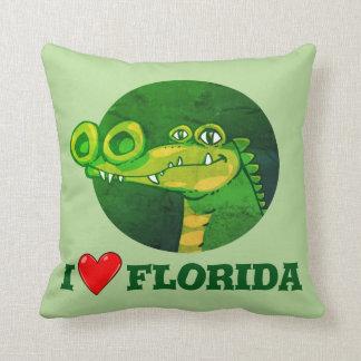 sweet crocodile funny cartoon i love florida throw pillow