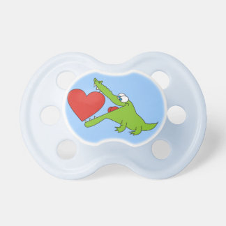 Sweet Crocodile with a Heart Blue Pacifier