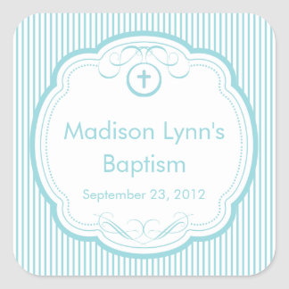 Sweet Cross In Frame Baptism Favor Seal Square Sticker