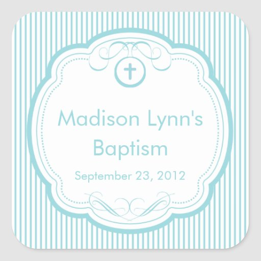 Sweet Cross In Frame Baptism Favor Seal Square Stickers