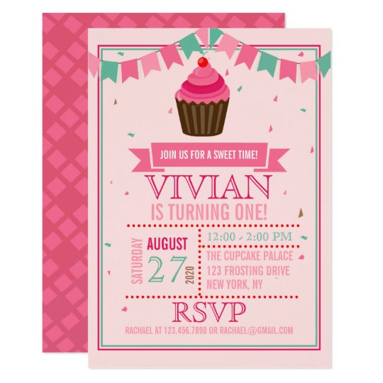 Sweet Cupcake Pink and Green/First Birthday Party Card