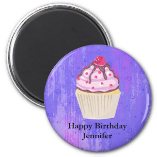 Sweet Cupcake with Raspberry on Top Birthday Magnet