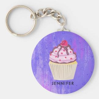 Sweet Cupcake with Raspberry on Top Custom Keychain