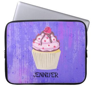 Sweet Cupcake with Raspberry on Top Custom Laptop Sleeve