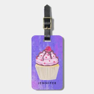 Sweet Cupcake with Raspberry on Top Custom Luggage Tag