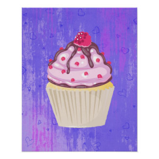 Sweet Cupcake with Raspberry on Top Poster