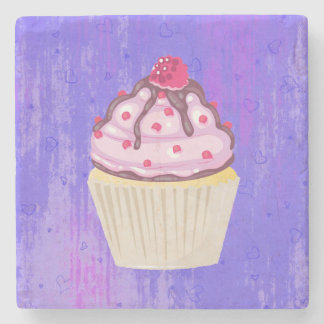 Sweet Cupcake with Raspberry on Top Stone Coaster