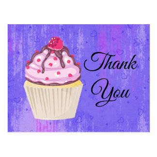 Sweet Cupcake with Raspberry on Top Thank You Postcard