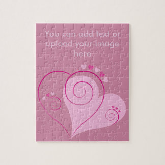 Sweet Cute Happy Valentine Love Hearts Soft Pink Jigsaw Puzzle