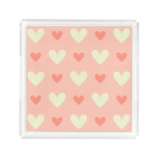 Sweet Cute Love Hearts Seamless Pattern Serving Tray