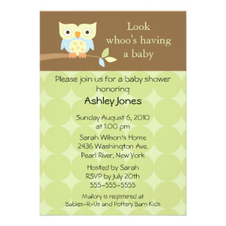 Sweet Cute Owl Neutral Baby Shower Announcements
