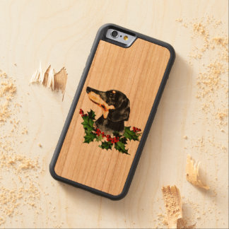 Sweet Dachshund and Christmas Holly Carved Cherry iPhone 6 Bumper Case