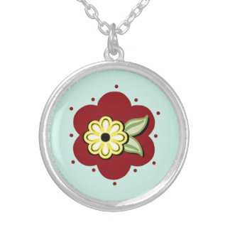 Sweet Daisy Sterling Silver Necklace in Red & Aqua