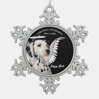 Sweet Dalmatian Angel Dog Pet Memorial Christmas Snowflake Pewter Christmas Ornament