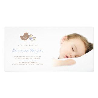 Sweet Damask Chicks Baby Boy Birth Announcement Card
