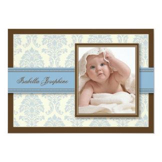 Sweet Damask Chocolate Birth Announcement (blue)