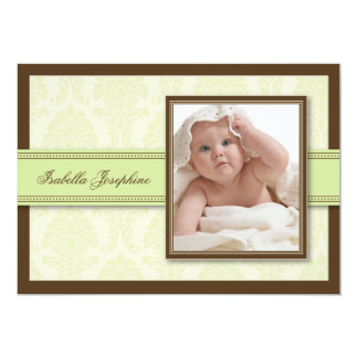 Sweet Damask Chocolate Birth Announcement (green)