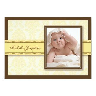 Sweet Damask Chocolate Birth Announcement (lemon)