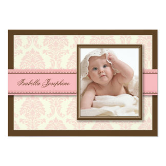 Sweet Damask Chocolate Birth Announcement (pink)