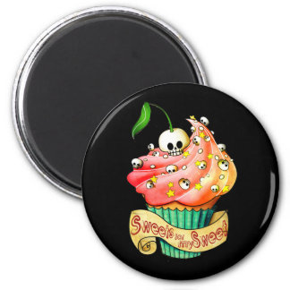 Sweet & Deadly  Skull Cupcake 2 Inch Round Magnet