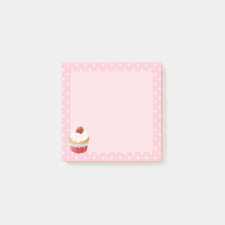 Sweet Delicious Strawberry Cupcake Pink Post-it Notes