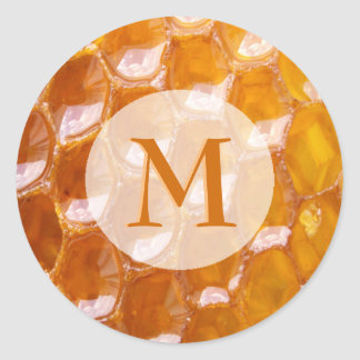 Sweet Detail of Golden Honeycomb Monogrammed Classic Round Sticker