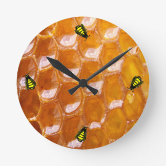 Sweet Detail of Golden Honeycomb With Cartoon Bees Round Clock