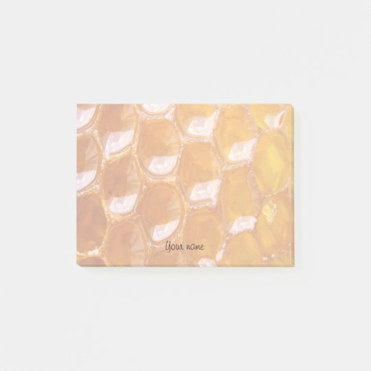 Sweet Detail of Golden Honeycomb With Your Name Post-it Notes