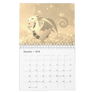 Sweet Dragon Story Glitter Pink Rose Gold Pastel Wall Calendars