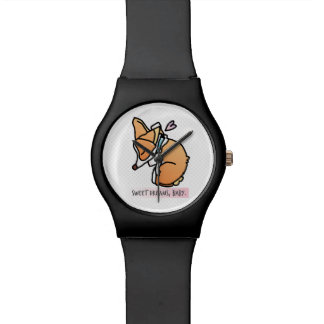 sweet dreams, corgi baby. black simple watch. watch