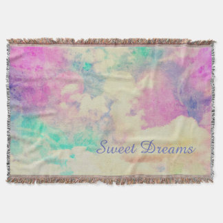 Sweet Dreams in Colorful Clouds Throw Blanket