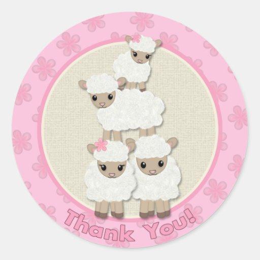 Sweet Dreams LAMB Baby Shower SDK#4B THANK YOU Sticker
