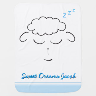 Sweet Dreams, Lamb face, Custom with prayer Baby Blanket