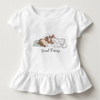 Sweet Dreams; Little Girl Sleeping with her Bear Toddler T-shirt
