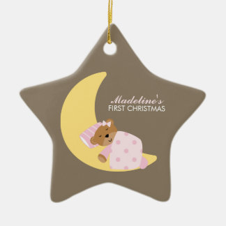 Sweet Dreams Lullaby Girl Baby's First Christmas Ceramic Star Ornament