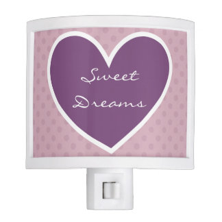 Sweet Dreams Pink Polka Dots Purple Heart V07 Nite Light